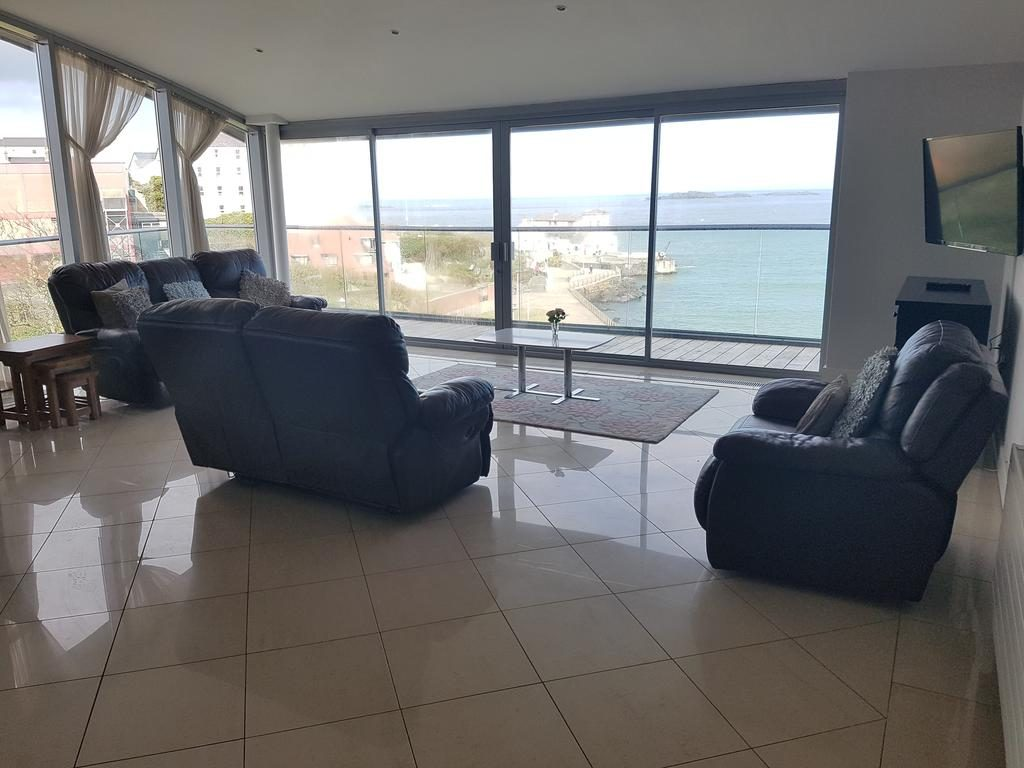 Ocean View Penthouse living room with a view