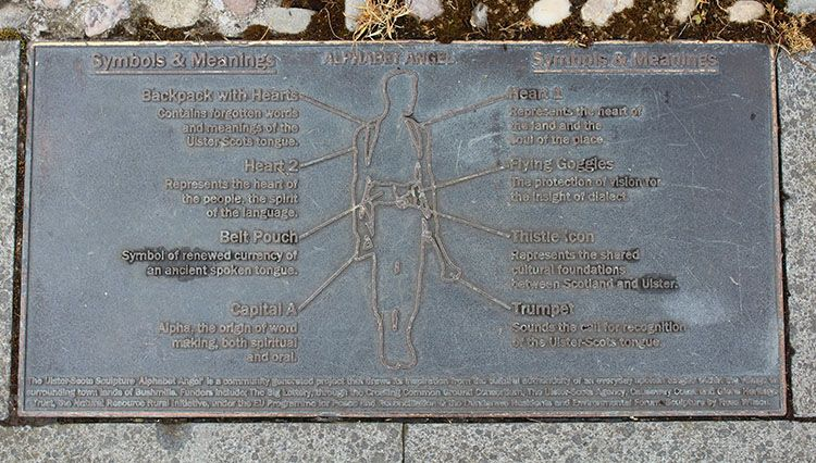 An image of the plaque below the alphabet angel in bUSHMILLS