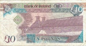 The Bank of Ireland ten Pound £10 Note featuring the Old Bushmills Distillery