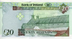 The Bank of Ireland twenty Pound £20 Note featuring the Old Bushmills Distillery