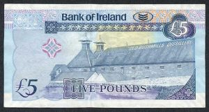 The Bank of Ireland Five Pound £5 Note featuring the Old Bushmills Distillery