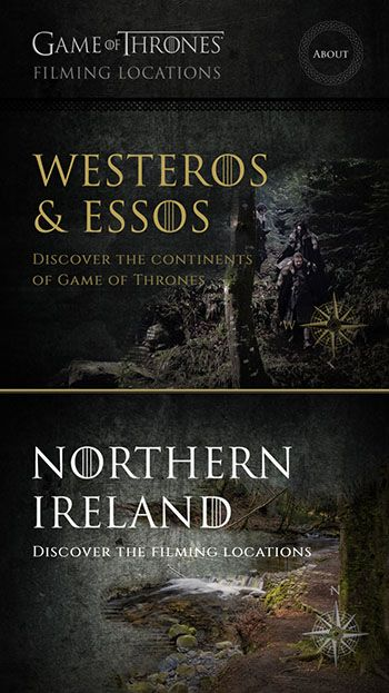 The screenshot of the gAME OF THRONES APP FROM DISCOVER NORTHERN IRELAND