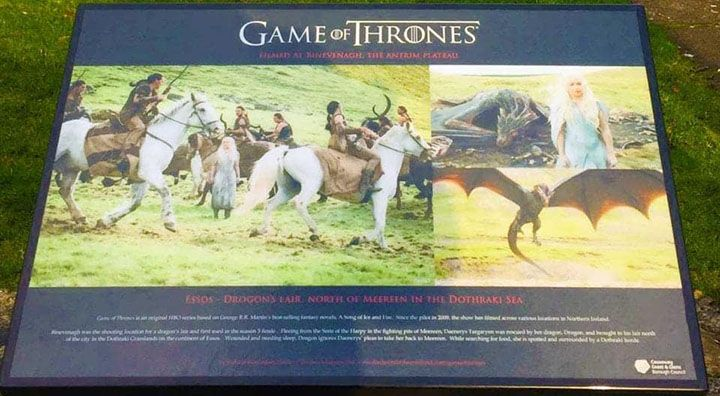 The Game of Thrones tour location board at Binevenagh showing the dothraki Grasslands film location