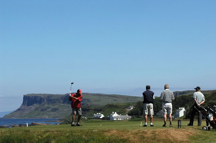 The Tullamore North West Open Golf Championships at Ballycastle with a view over the tee box towards Fairhead
